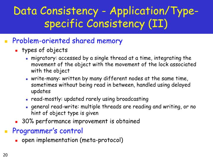 Data Consistency - Application/Type-specific Consistency (II)
