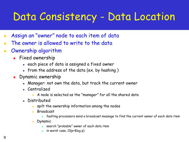 Data Consistency - Data Location