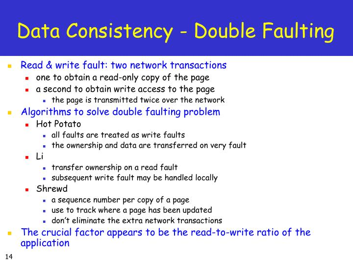 Data Consistency - Double Faulting