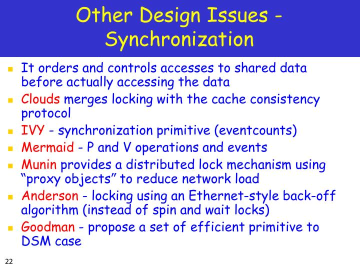 Other Design Issues - Synchronization