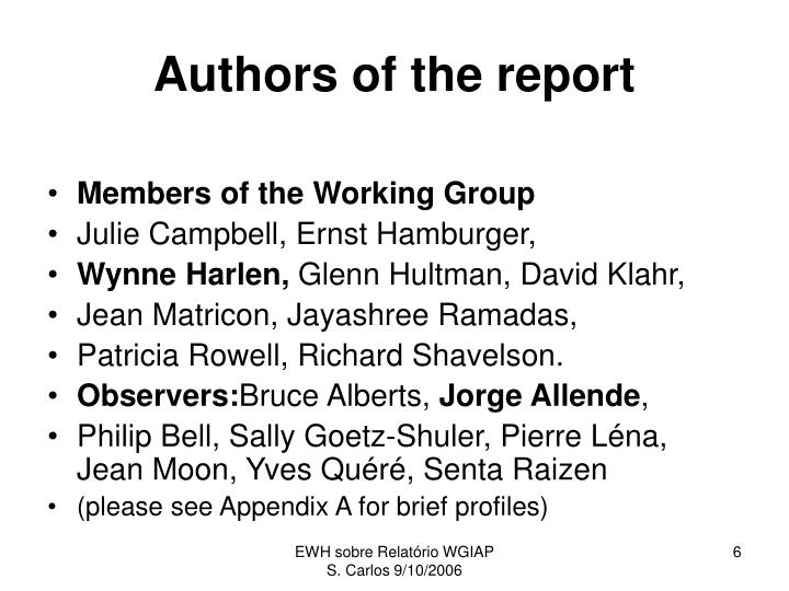 Authors of the report