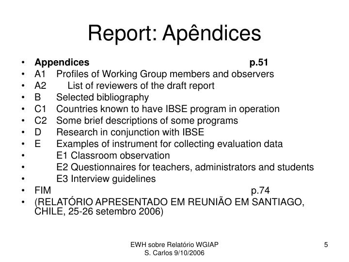 Report: Apêndices