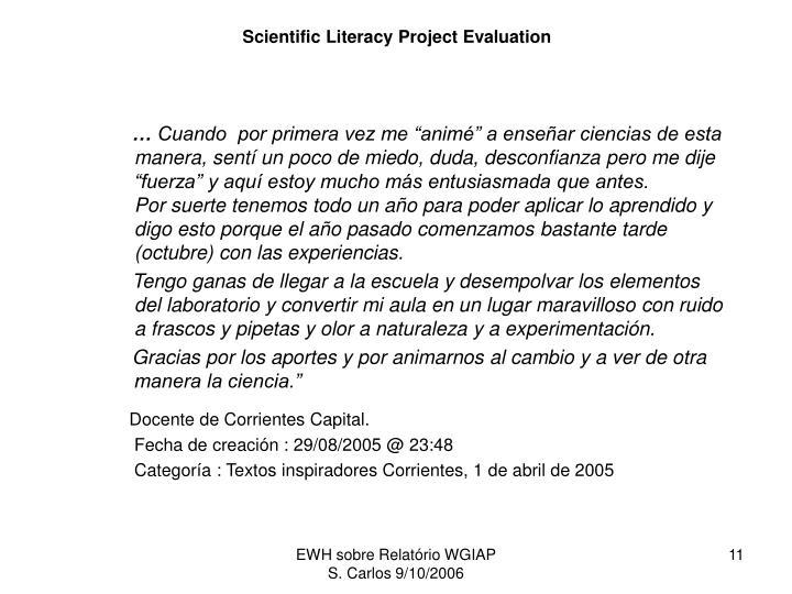 Scientific Literacy Project Evaluation