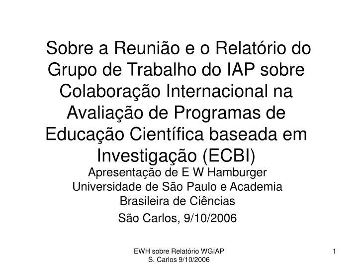 Sobre a Reunião e o Relatório do Grupo de Trabalho do IAP sobre Colaboração Internacional na Av...