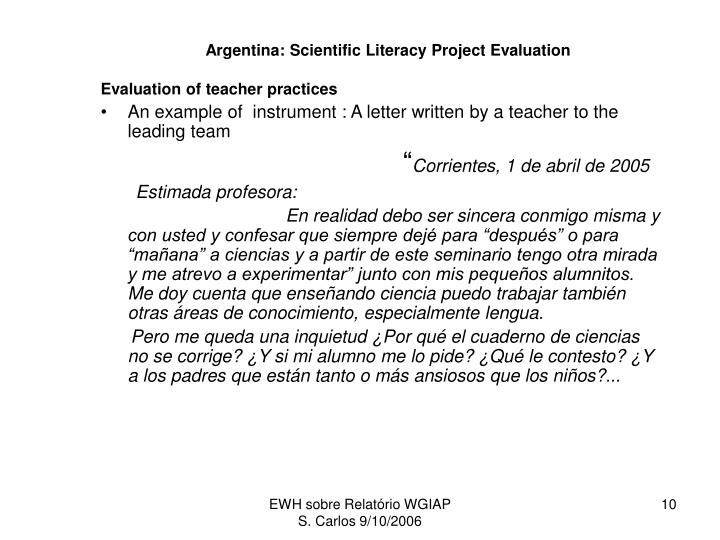 Argentina: Scientific Literacy Project Evaluation