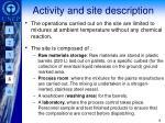 activity and site description