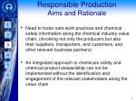 responsible production aims and rationale