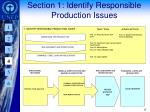 section 1 identify responsible production issues