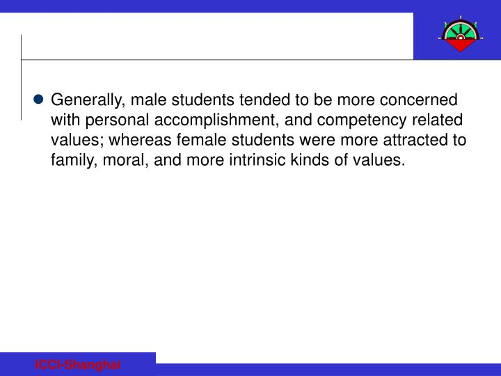 Generally, male students tended to be more concerned with personal accomplishment, and competency related values; whereas female students were more attracted to family, moral, and more intrinsic kinds of values.