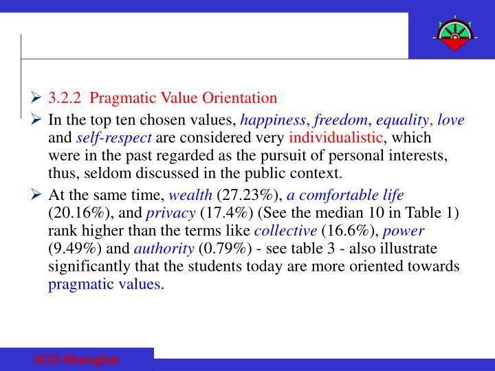 3.2.2  Pragmatic Value Orientation