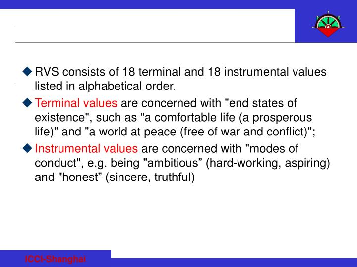 RVS consists of 18 terminal and 18 instrumental values listed in alphabetical order.