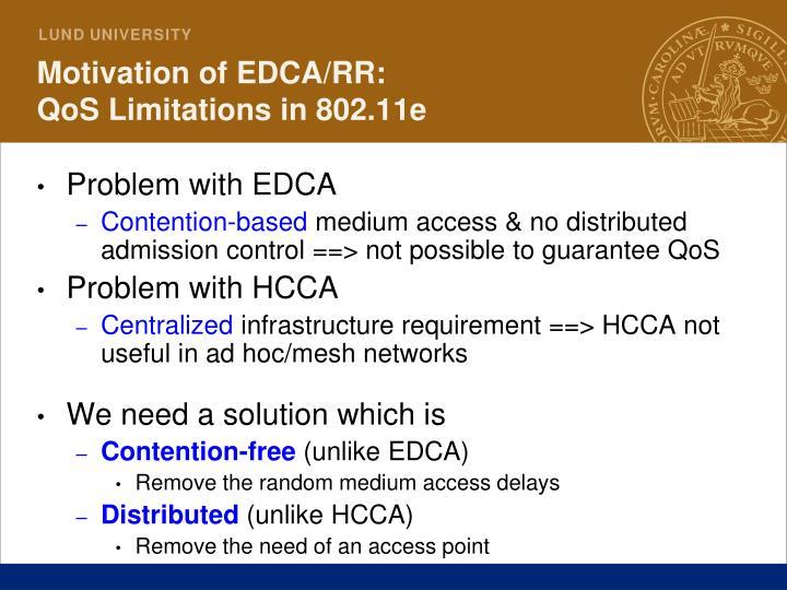 Motivation of EDCA/RR: