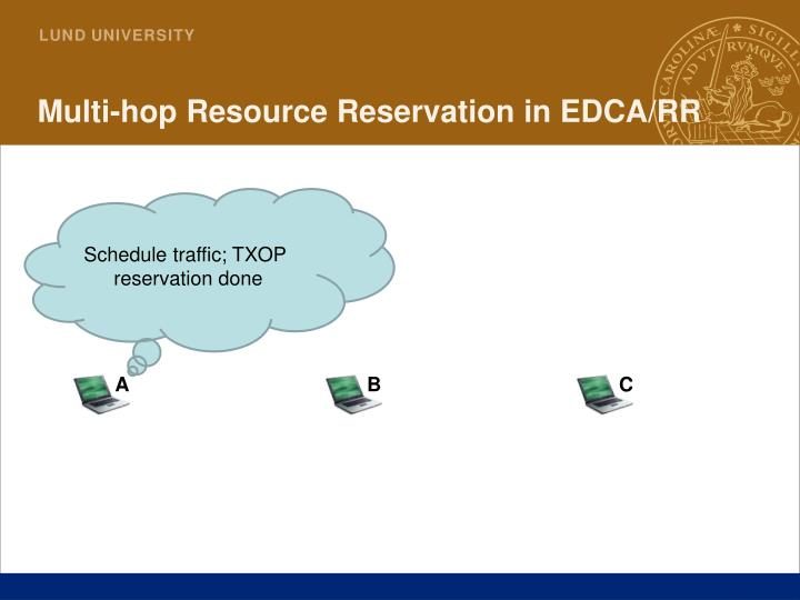 Multi-hop Resource Reservation in EDCA/RR