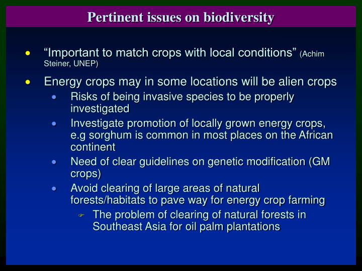 Pertinent issues on biodiversity