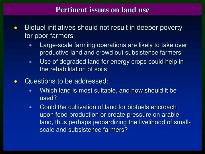 Pertinent issues on land use
