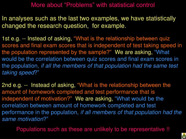 """More about """"Problems"""" with statistical control"""