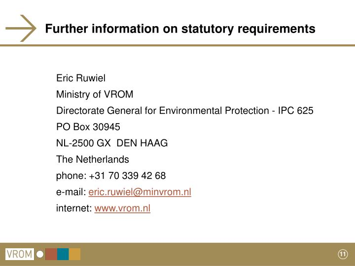 Further information on statutory requirements