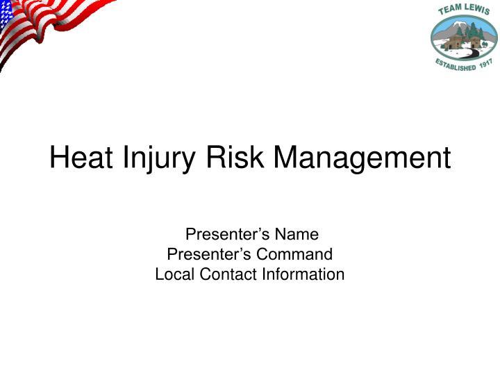 heat injury risk management n.