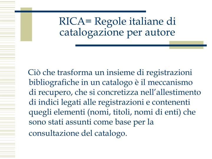 Rica regole italiane di catalogazione per autore