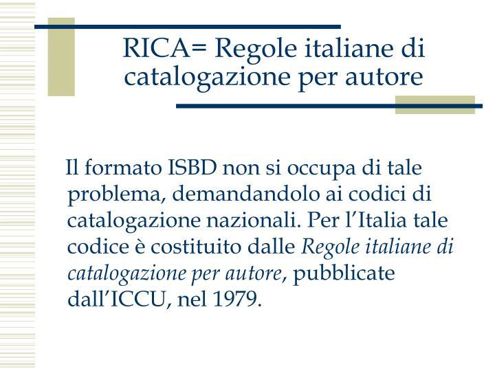 Rica regole italiane di catalogazione per autore1