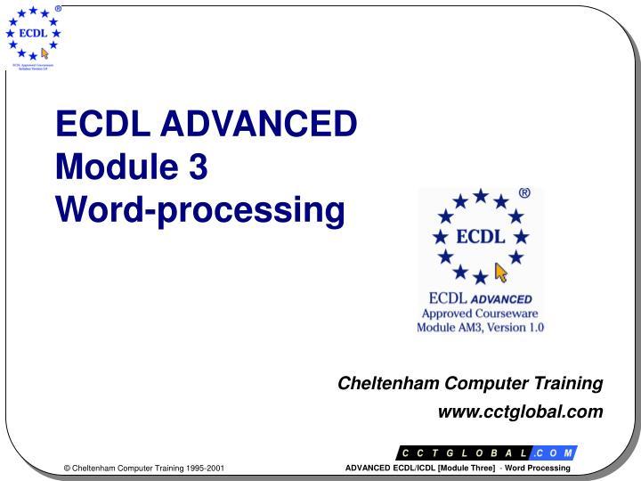 ecdl advanced module 3 word processing n.