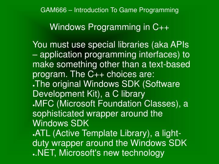 PPT - GAM666 – Introduction To Game Programming PowerPoint