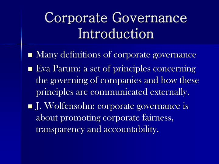 Corporate governance introduction