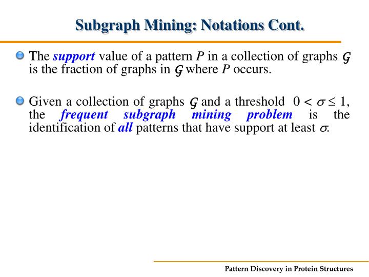 Subgraph Mining: Notations Cont.