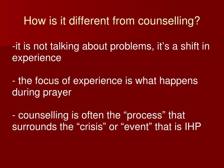 How is it different from counselling