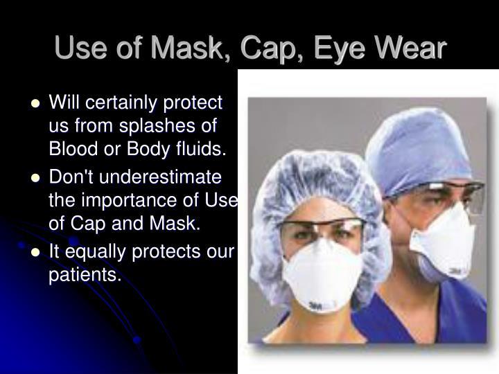 Use of Mask, Cap, Eye Wear