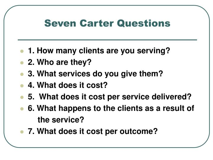 Seven Carter Questions