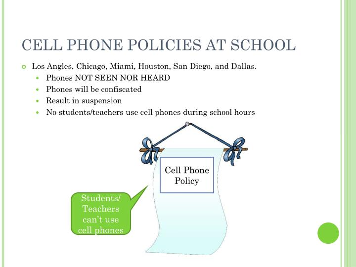 CELL PHONE POLICIES AT SCHOOL