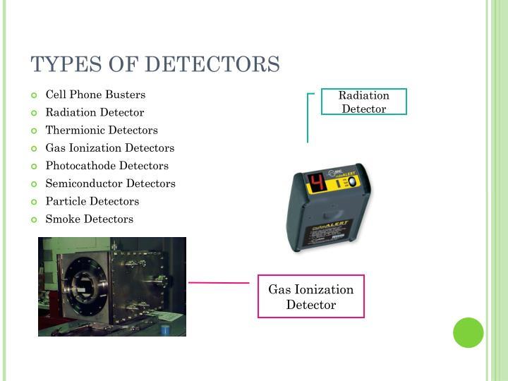 TYPES OF DETECTORS