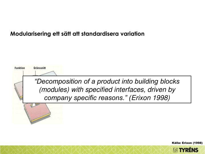 Modularisering ett sätt att standardisera