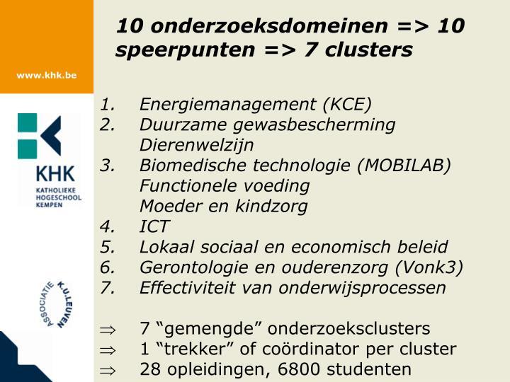 10 onderzoeksdomeinen => 10 speerpunten => 7 clusters