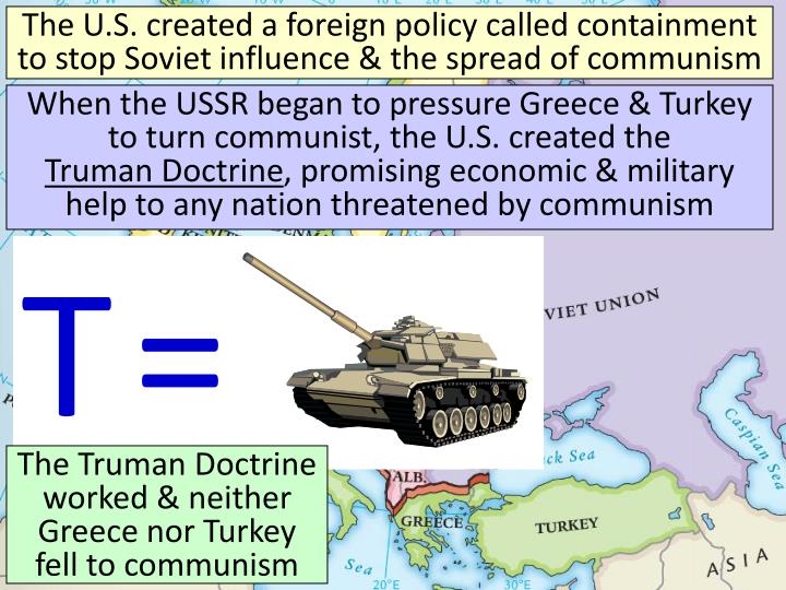 The U.S. created a foreign policy called containment to stop Soviet influence & the spread of communism