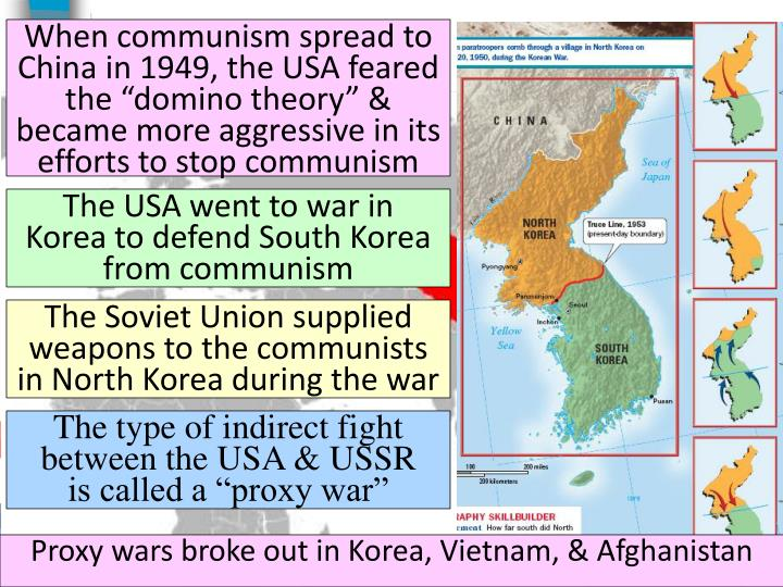 """When communism spread to China in 1949, the USA feared the """"domino theory"""" & became more aggressive in its efforts to stop communism"""
