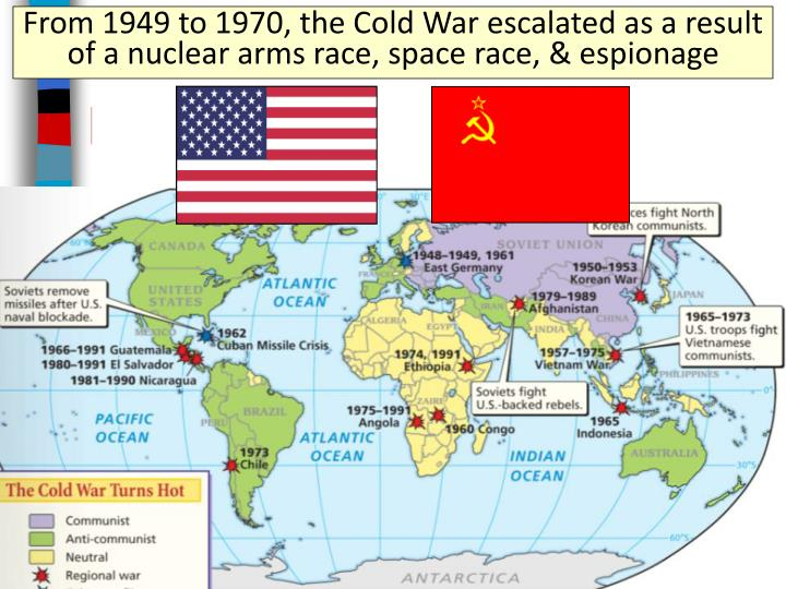 From 1949 to 1970, the Cold War escalated as a result of a nuclear arms race, space race, & espionage