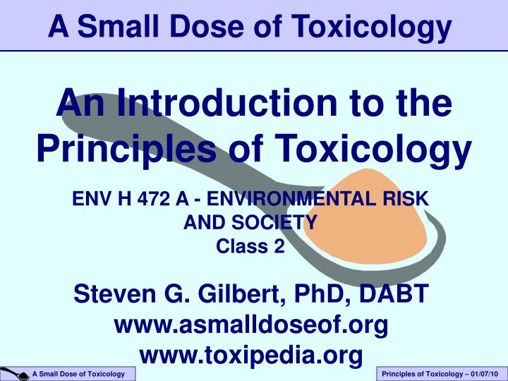 an introduction to the principles of toxicology n.