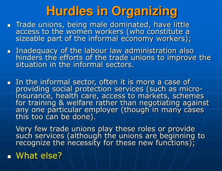 Hurdles in Organizing