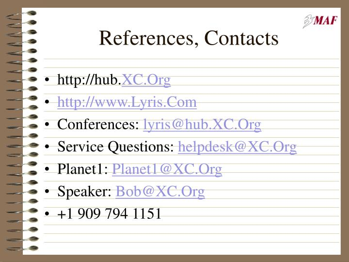 References, Contacts