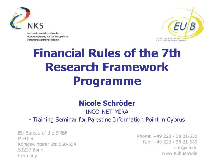 financial rules of the 7th research framework programme n.