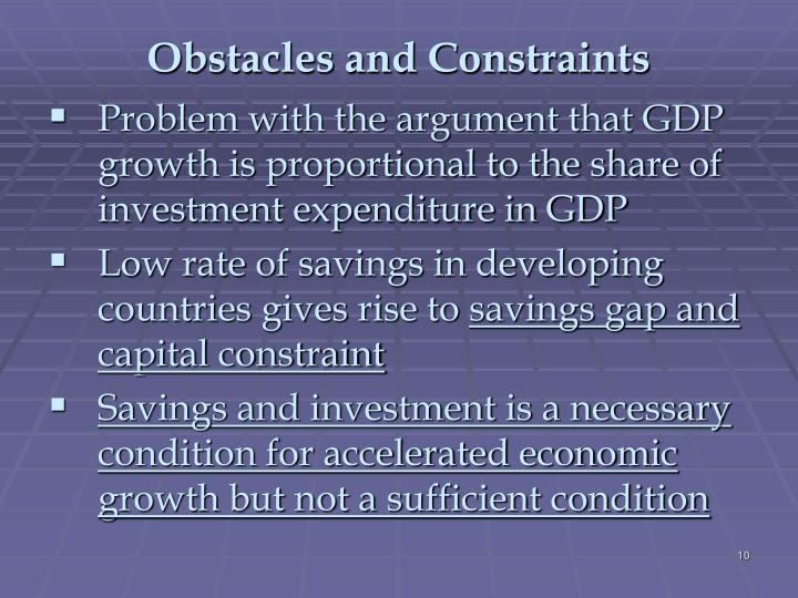 Obstacles and Constraints