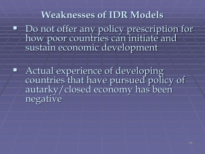 Weaknesses of IDR Models