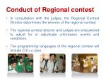 conduct of regional contest