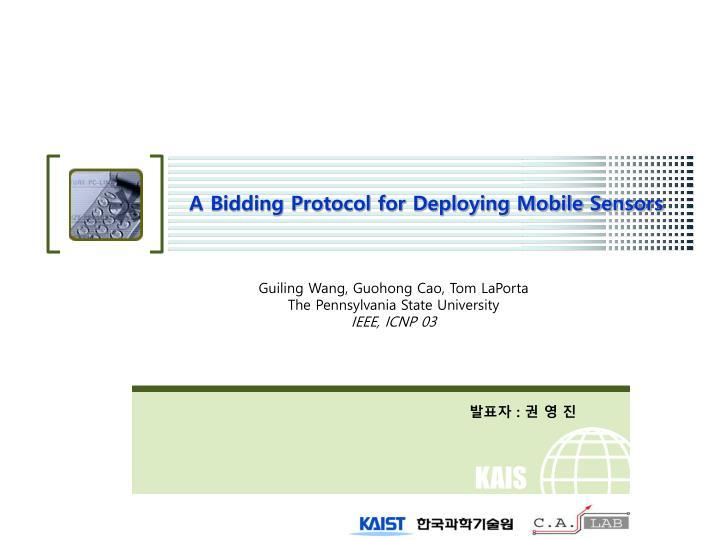 a bidding protocol for deploying mobile sensors n.
