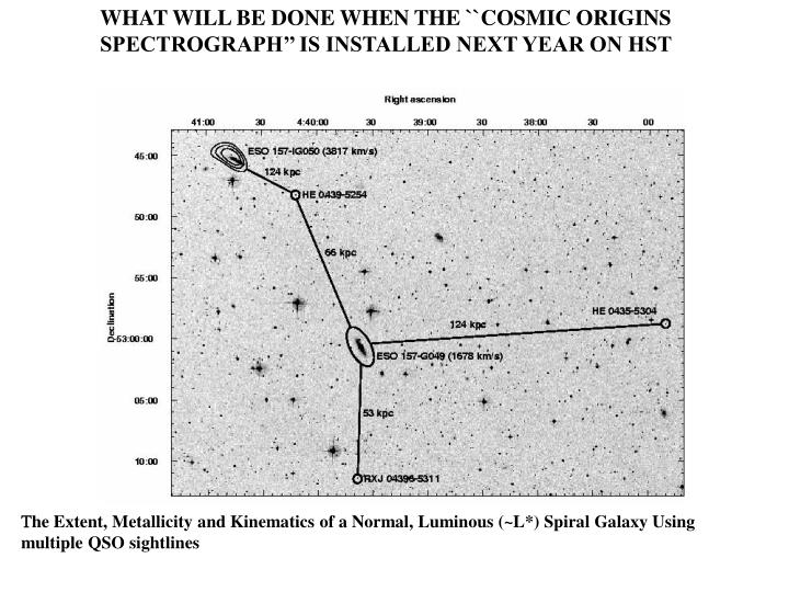 WHAT WILL BE DONE WHEN THE ``COSMIC ORIGINS SPECTROGRAPH'' IS INSTALLED NEXT YEAR ON HST