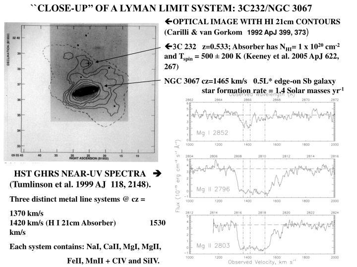 ``CLOSE-UP'' OF A LYMAN LIMIT SYSTEM: 3C232/NGC 3067