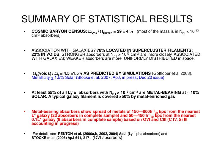 SUMMARY OF STATISTICAL RESULTS