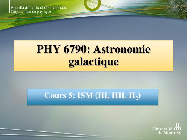 Phy 6790 astronomie galactique